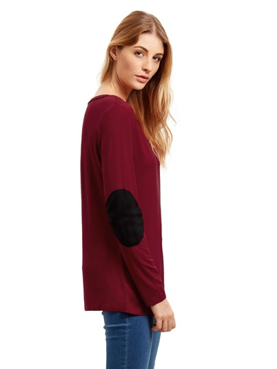Burgundy Long Sleeve Elbow Patch T-Shirt