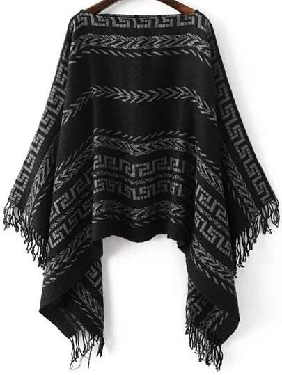 Black Tribal Pattern Boat Neck Fringe Poncho Sweater