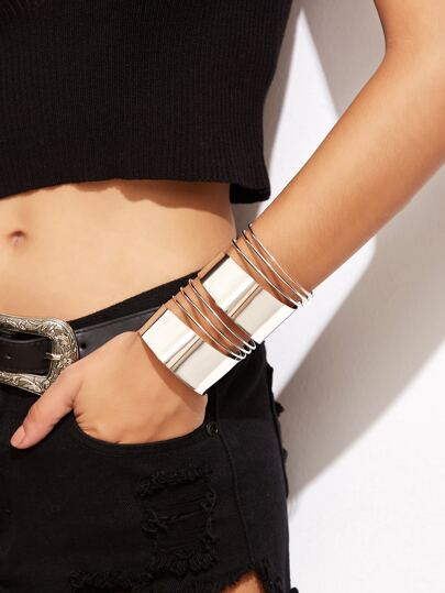 Silver Plated Hollow Out Cuff Bracelet