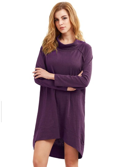 Purple Cowl Neck Long Sleeve High Low Dress