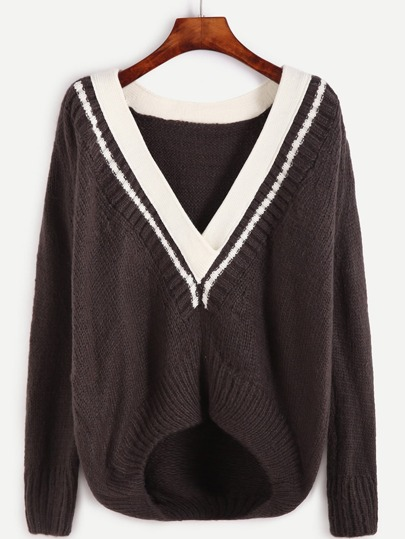 Contrast Striped V Neck High Low Sweater