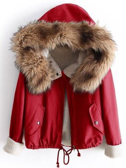 Red Fleece Lined Jacket With Faux Fur Trim Hood