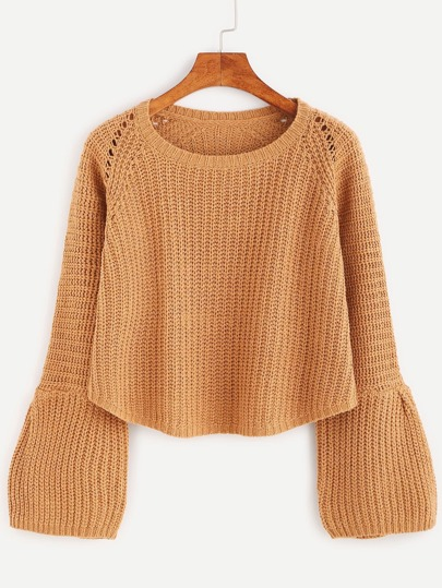 Camel Ribbed Knit Eyelet Bell Cuff Sweater