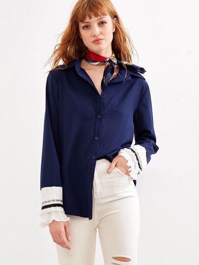 Navy Contrast Ruffle Cuff Shirt