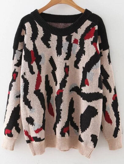 Jersey hombro caído con estampado leopardo