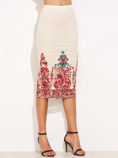 White Embroidered Mesh Overlay Pencil Skirt