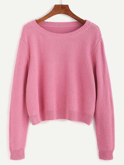 Pink Ribbed Trim Textured Pullover Sweater