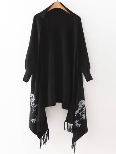 Black Graphic Pattern Fringe Poncho Sweater