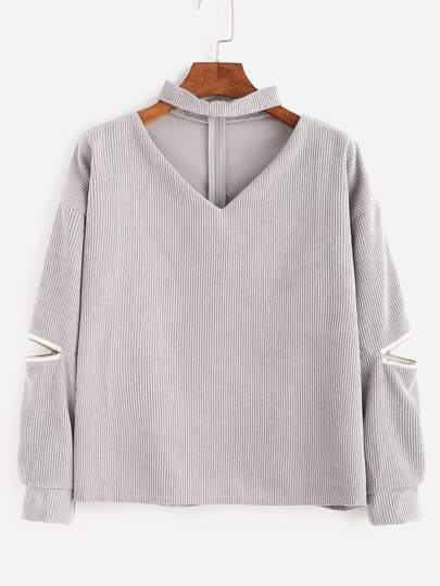 Grey Cut Out Choker Neck Zipper Corduroy Sweatshirt