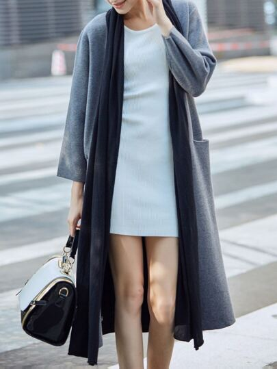 Grey Color Block Pockets Cardigan