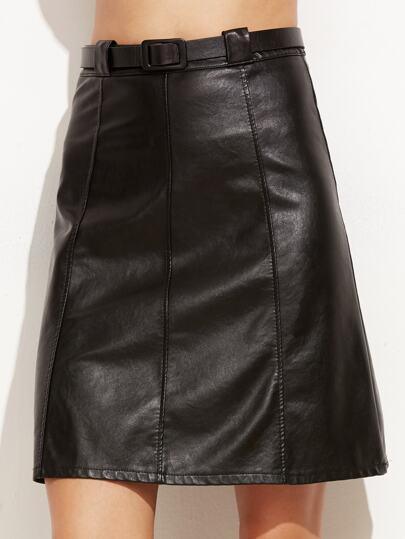Falda línea A de cuero sintético con cinturón - negro