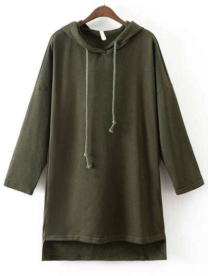 Army Green Drawstring Hooded Dip Hem Sweatshirt