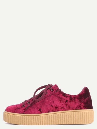 Zapatillas faux suede plataforma - borgoña