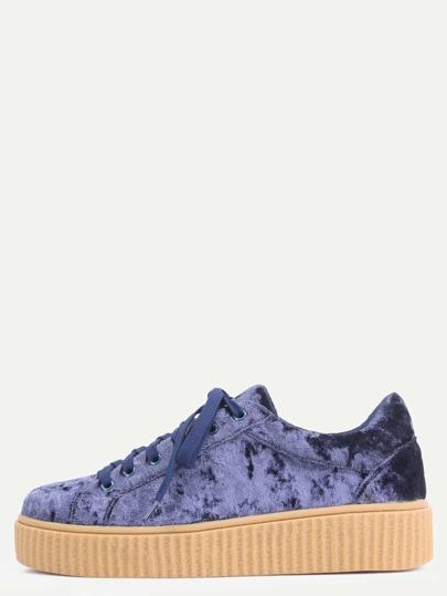 Chaussures plates en suédé - bleu marine
