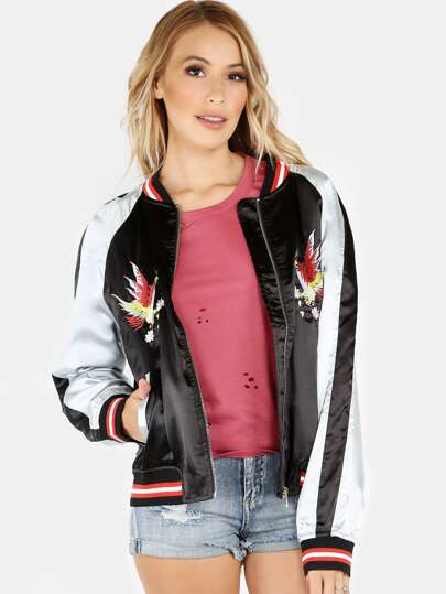 Pheonix Satin Colorblock Bomber Jacket BLACK SILVER
