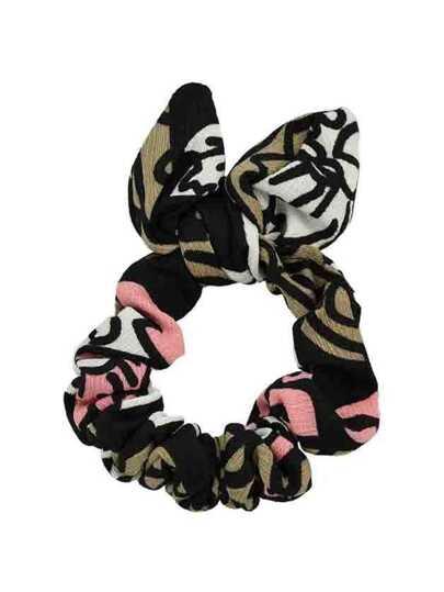 Black Printed Bowknot Shape Headband Accessory