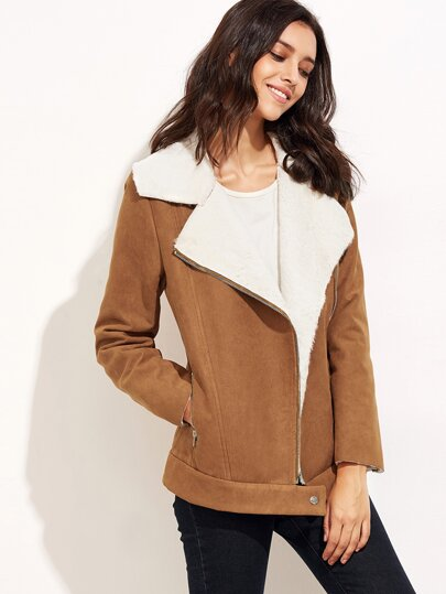 Camel Faux Shearling Asymmetric Zip Jacket