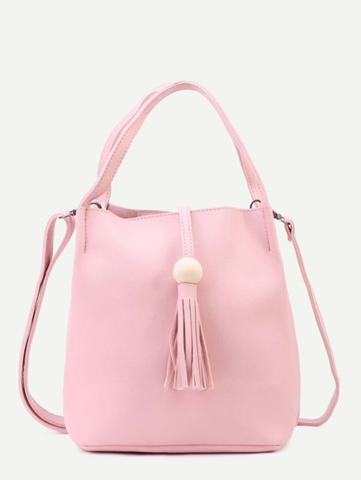 Pink PU Tassel Trim Tote Bag With Strap