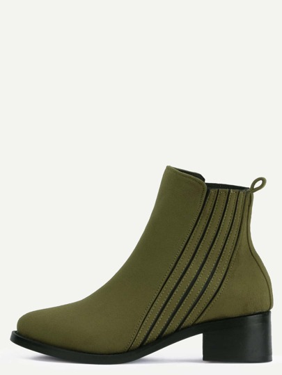 Green Faux Suede Elastic Chunky Heel Ankle Boots