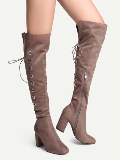 Botas en punta con cordón - kaki