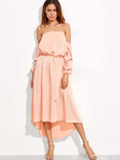 Pink Off The Shoulder Long Sleeve Self Tie Dip Hem Dress