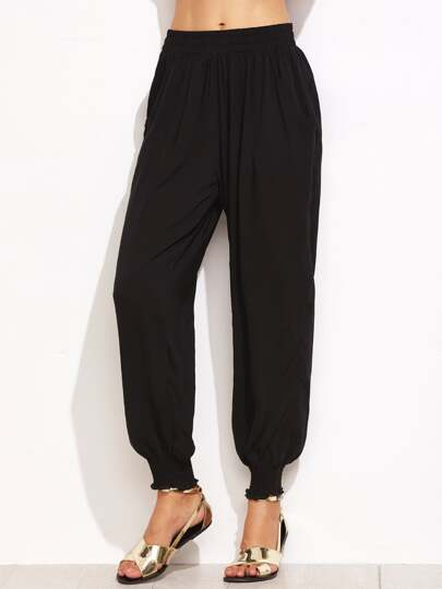 Black Elastic Waist Shirred Hem Harem Pants