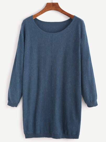 Navy Scoop Neck Jersey Sweater