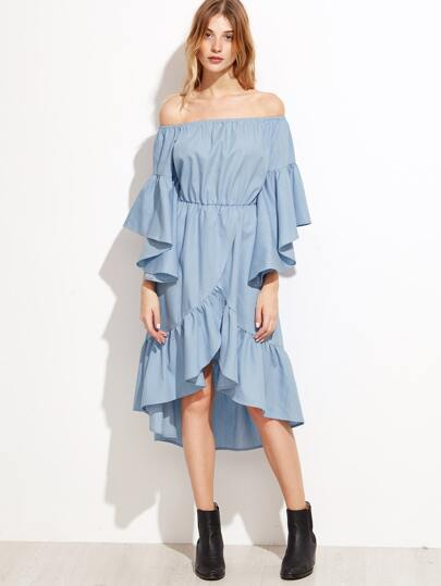 Blue Off The Shoulder Asymmetric Tiered Ruffle Dress