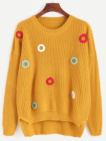 Yellow Dip Hem Crochet Sweater