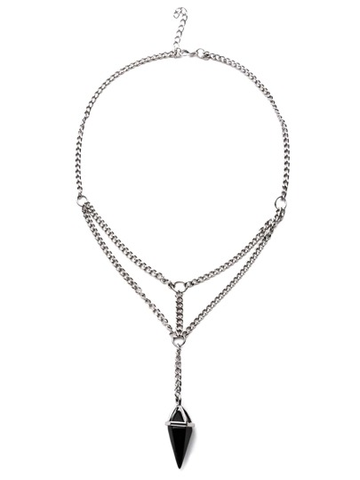 Collier avec pendentif en stras - argenté antique