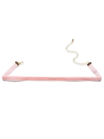 Collier ras de cou en velours - rose