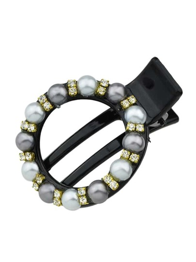 Darkgray New Coming Imitation Pearl Round Shape Hair Clip