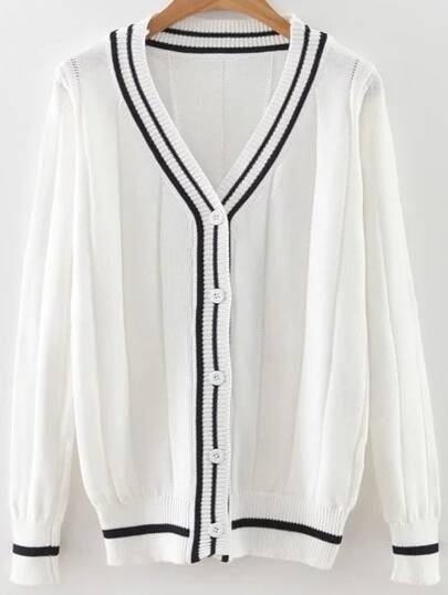 White Striped Trim Button Up Cardigan