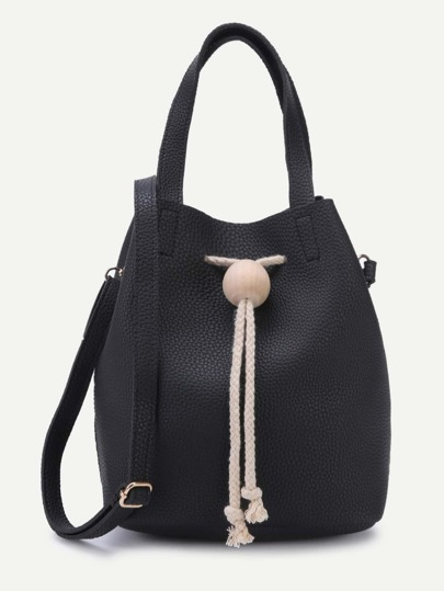 Black Pebbled PU Drawstring Bucket Bag