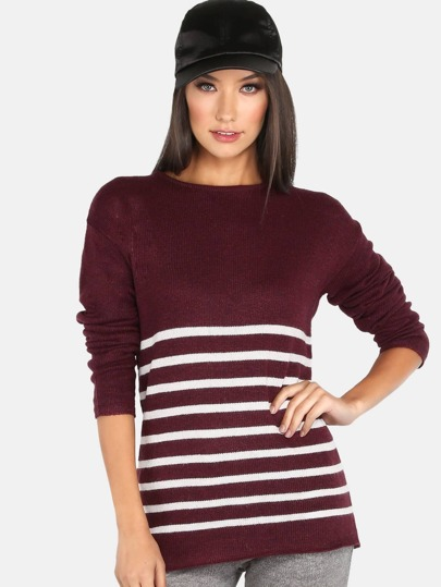 Striped Knit Pullover BURGUNDY