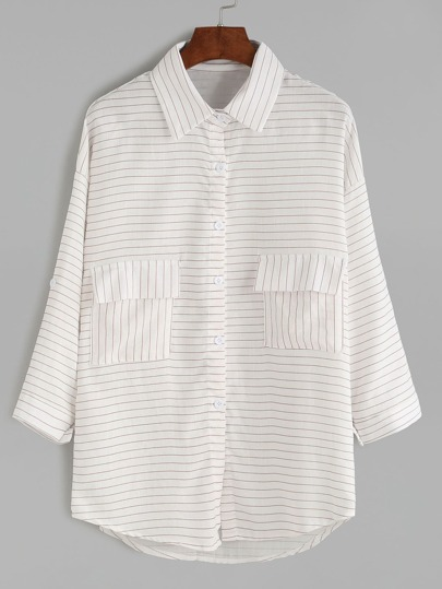 Dropped Shoulder Seam Striped Pockets Blouse