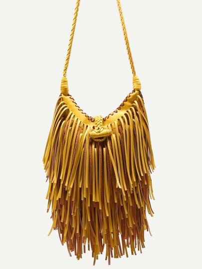 Yellow PU Tassel Fringe Crossbody Bag With Woven Strap