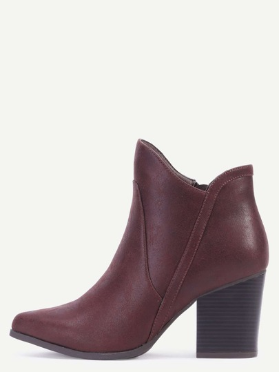 Brown Round Toe Faux Leather Chunky Heel Boots