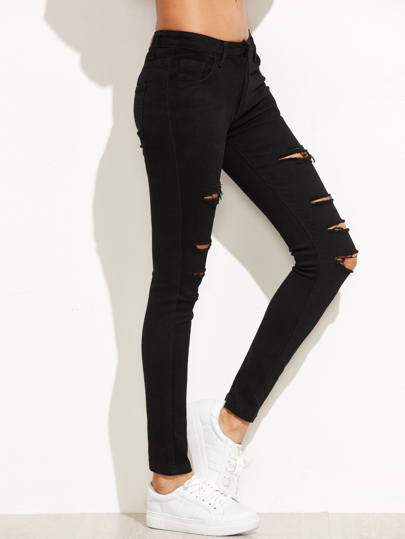 Black Ripped Skinny Denim Pants