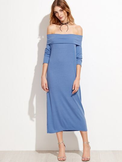 Blue Off The Shoulder Foldover Dress