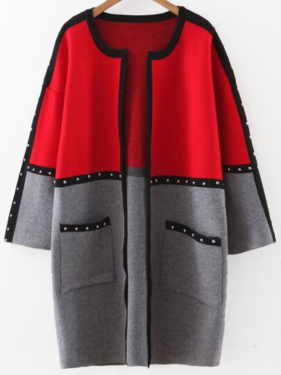 Color Block Studded Trim Sweater Coat With Pockets