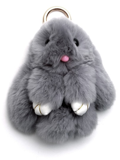 Light Grey Fluffy Bunny Keychain