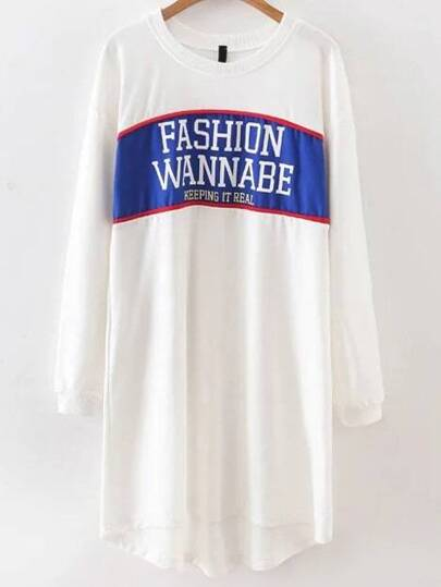 Robe sweat-shirt imprimé lettres - blanc