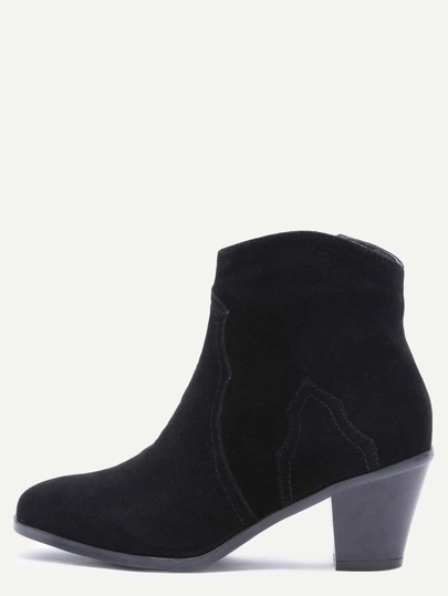 Black Nubuck Leather Almond Toe Chunky Heel Booties