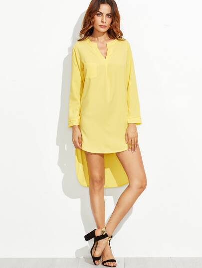 Yellow V Neck High Low Curved Hem Dress