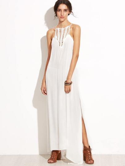 White Halter Crochet Hollow Out Split Hem Dress