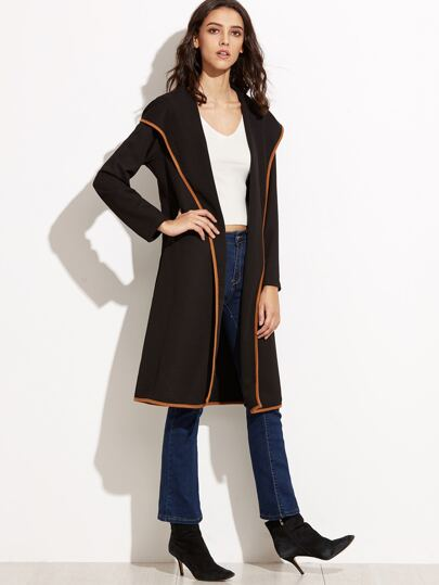 Contrast Trim Hooded Coat