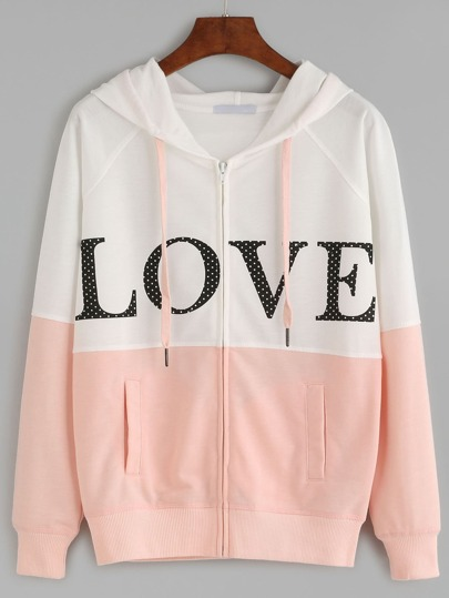 Color Block Letter Print Raglan Sleeve Hooded Sweatshirt