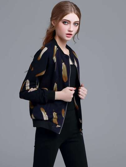 Navy Feather Print Zipper Front Jacket