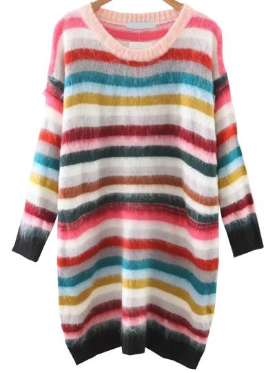 Multicolor Striped Drop Shoulder Sweater Dress